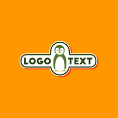 paper sticker on stylish background penguin logo