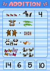 Addition worksheet with wild animals