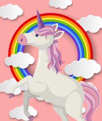 Unicorn and rainbow on pink background