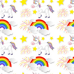Seamless Background with Rainbow and Unicorn