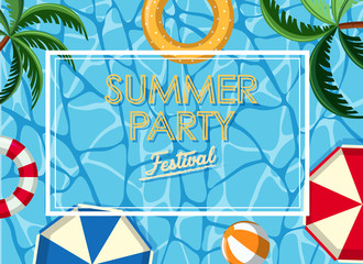 Poster design for summer party with ocean in background