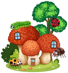 Mushroom House with Cute Insect