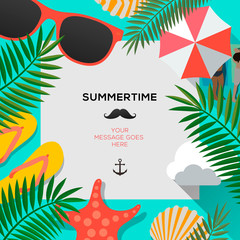 Summertime background with palms leaf, vector illustration.