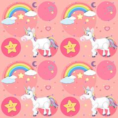 Seamless background design with cute unicorn