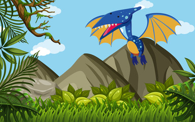 Pterosaur flying over the mountains