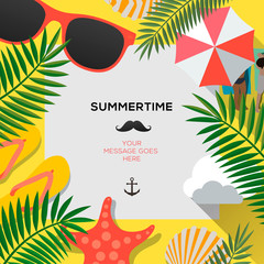 Summer web banner background. Hello Summer Holiday party beach template backdrop, vector illustration.