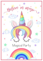 Poster design with rainbow unicorn