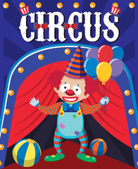 Poster design with circus clown and balls