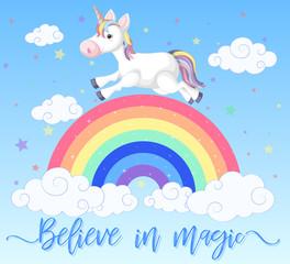 Poster design with unicorn running on the rainbow