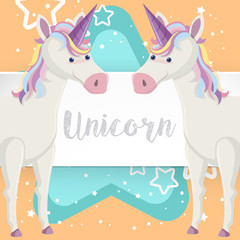 Two unicorns on poster