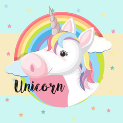 Poster design with unicorn head and rainbow