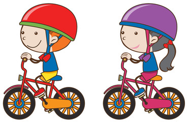 Boy and girl riding bicycle
