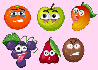 Fruits with different facial expressions