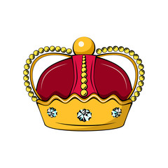 Cartoon royal crown icon.  king, queen, prince, princess attributes. Isolated on white background.