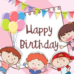 Happy Birthday Card with Kids