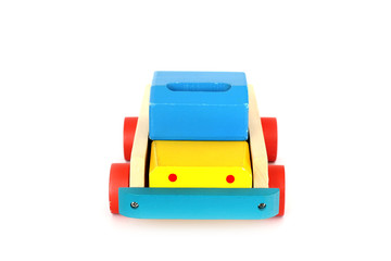 Wooden Toys. For children. Old toy on a wooden background