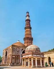 Imam Zamin Tomb, Alai Darwaza and Qutub Minar at the Qutb Complex in Delhi, India