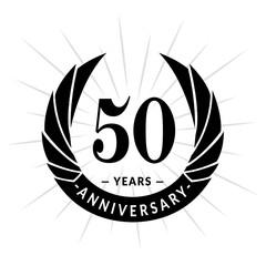 50 years anniversary. Elegant anniversary design. 50 years logo.