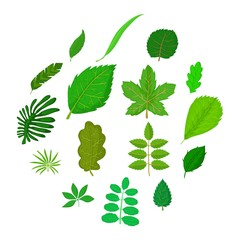 Green leafs icons set, cartoon style