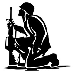 Kneeling soldier looking upward holding rifle, solemn feeling, patriotic, vector silhouette in plain black and isolated.