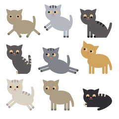 Set of cute vector cats. Collection of cute characters for design. Kittens.