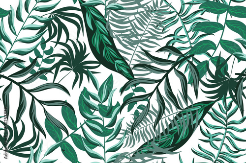 seamless pattern with tropical palm leaves jungle leaves pattern