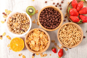 selection of cereal breakfast