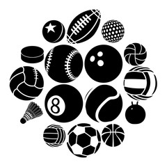 Sport balls icons set play types, simple style