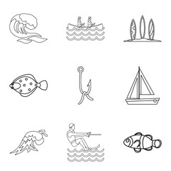 Tropical vacation icons set, outline style