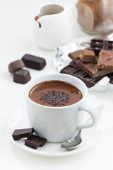 hot chocolate on a white background, vertical, top view