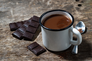 mug of hot sweet chocolate on a wooden background