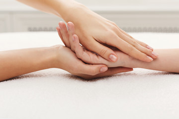 Hand massage closeup, acupressure
