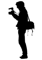 Man with a photo camera on white background