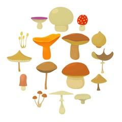 Mushroom types icons set, cartoon style