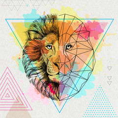 Hipster animal realistic and polygonal lion on artistic watercolor background