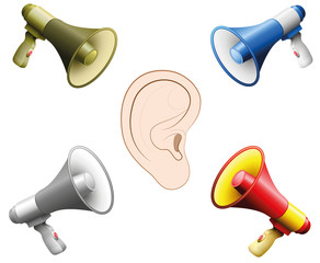 Hearing damage caused by too loud noise. Symbolic illustration for hearing damage, tinnitus, hearing disorder, mental stress because of yelling megaphones- isolated vector on white background.