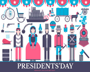 President Abraham Lincoln day with historical XIX 19 century elements flat icon set. Vector people and traditional of USA object illustrations cover concept design. National culture traditions