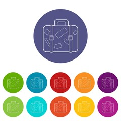Travel suitcase with stickers icons set vector color