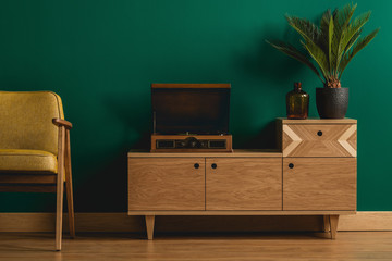 Wooden dresser with record player