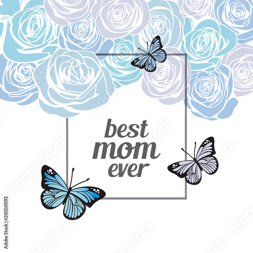 happy mother s day greeting card or banner template with blue roses