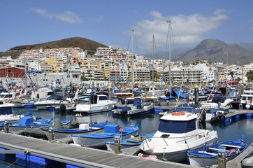 Boote im Hafen Los Cristianos, Teneriffa