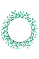 Round frame of watercolor painted green leaves on a white background. Isolated and space for your text.