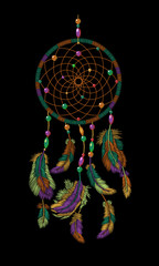 Embroidery boho native american indian dreamcatcher feathers. Clothes ethnic tribal fashion design dream catcher. Fashionable template vector illustration