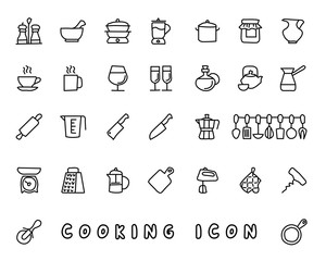 cooking hand drawn icon design illustration, line style icon, designed for app and web