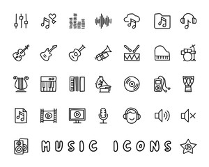 music hand drawn icon design illustration, line style icon, designed for app and web
