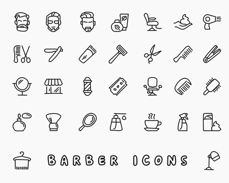 barber hand drawn icon design illustration, line style icon, designed for app and web