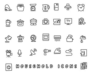 household hand drawn icon design illustration, line style icon, designed for app and web