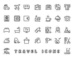 travel hand drawn icon design illustration, line style icon, designed for app and web