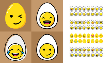 Cartoon flat design illustration. Big set of egg shaped emoji. Some mood sticker for chat like LOL, love, wink, crazy, flirt, confused, laugh, kiss, tears, cry and other. Four flat design.
