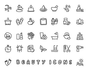 beauty hand drawn icon design illustration, line style icon, designed for app and web